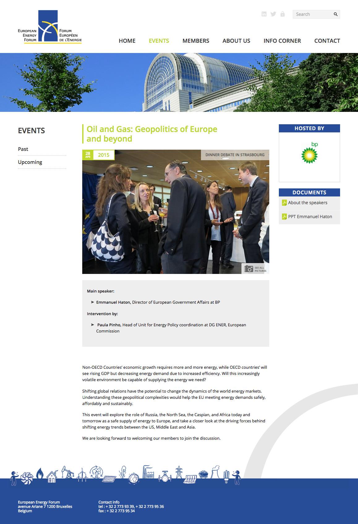 Page Event du site du Forum européen de l'énergie