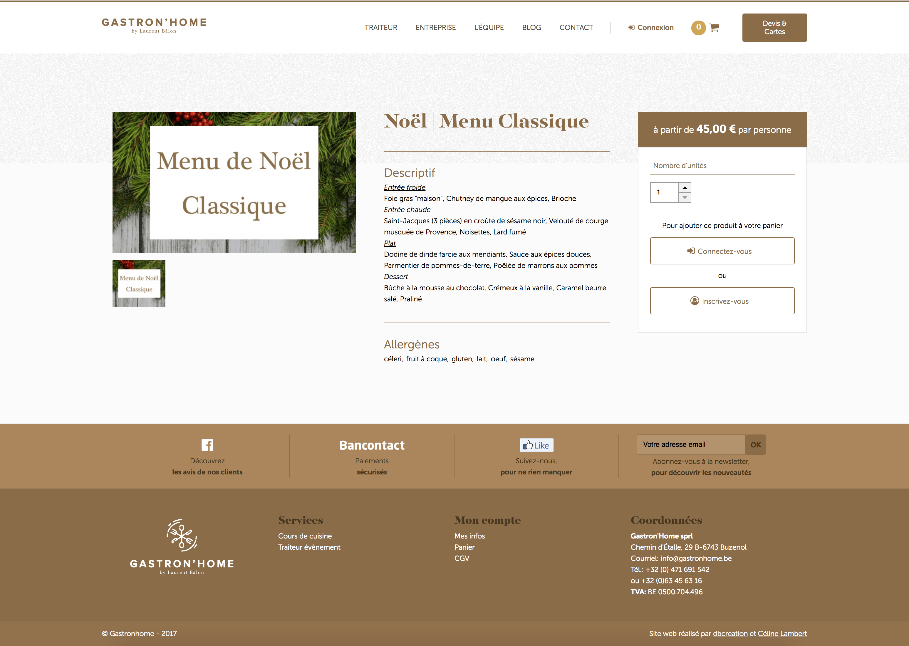Fiche produit du site gastronhome.be