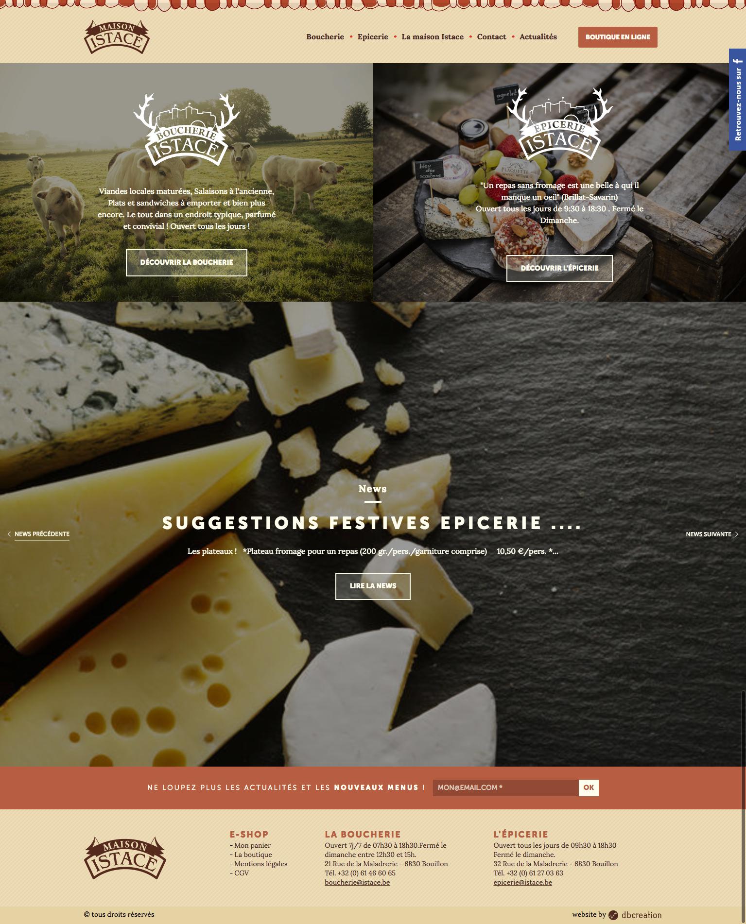 Page d'accueil du site web istace.be